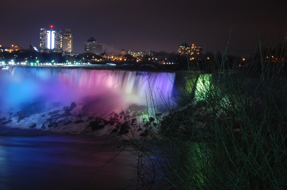 Niagara Falls, Winter 2007, Falls on the American side of the border at night