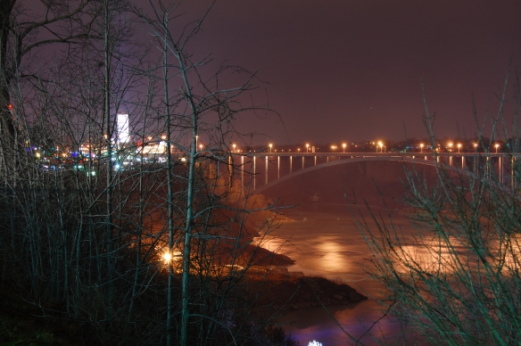 Niagara Falls, Winter 2007, bridge to Buffalo, New York at night