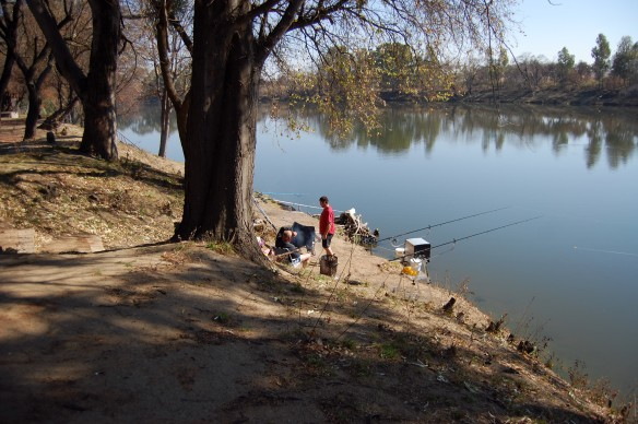 Fishing on the Vaal River, South Africa